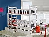 Massivholz Kiefer 190x80 weiss Etagenbett 2 Liegeflächen inkl.2Matratzen Hochbett DOMINIK II