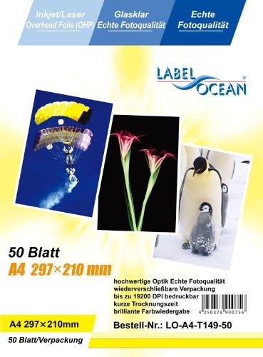 50 Blatt A4 Overheadfolie (OHP Transparentfolie Transparentpapier) für Inkjetdrucker Laserdrucker...