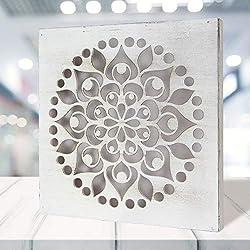 Mandala de Pared Calada, Fabricada artesanalmente en España- Mandala 3D Cuadrada Pintada a Mano- Modelo Mosaico 103 (Blanco Envejecido, 30x30 cm)