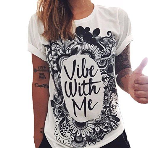 Qhgstore maglietta donne gufo lettere occhio maglietta della stampa allentata solido di colore girocollo a maniche corte no.2 s