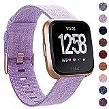 CAVN Compatibel met Fitbit Versa Strap/Versa Lite/Versa 2 Band Geweven voor Vrouwen Mannen, Stof Band Nylon Sport Polsbandjes met Verstelbare Sluiting Horlogeband voor Fitbit Versa Smartwatch