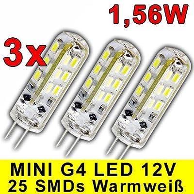 3 Stück - Dimmbare G4 GU4 HIGH-POWER LED mit 1,56 Watt DIMMBAR und 24 SMDs WARMWEIß 12V DC 125lm für Dimmer Halogenförmig Stiftsockel 360° Leuchtmittel GU4 Lampensockel Spot Halogenersatz Lampe von Trango - Lampenhans.de