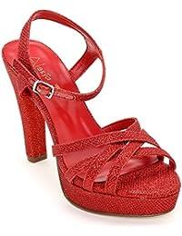 Alesya Scarpe&Scarpe - Sandalias Altas con Efecto Lurex y Correa EN el Tobillo, con Tacones 11 cm