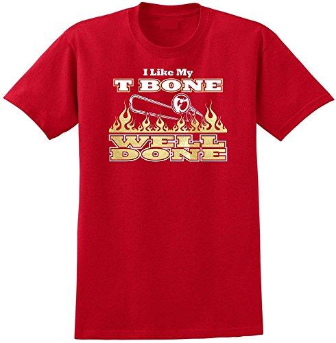 Trombone Like My T Bone Well Done - Red Rot T Shirt Größe 87cm 36in Small MusicaliTee (Valve Trombone Bass)