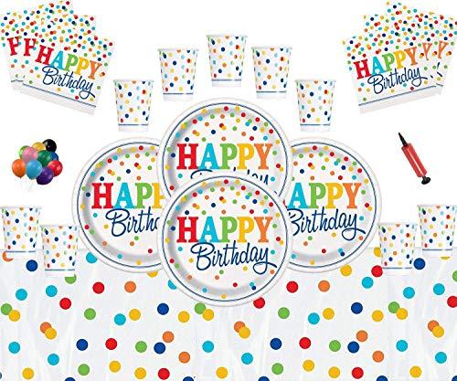 Rainbow Polka Dot Party Supplies alles Gute zum Geburtstag Geschirr Set-Rainbow Themed Partydekorationen für 16 Personen