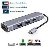 USB Typ C HDMI Adapter für Nintendo Switch / Samsung Galaxy S8 / S8 Plus,AOGE USB-C Hub mit USB C PD Ladeanschluss , USB-A 3.0 Hub USB 2.0 und HDMI Konverter Arbeit als Switch Dock Unterstützung für Samsung Dex Mode und MacBook Pro 2016/2017 -