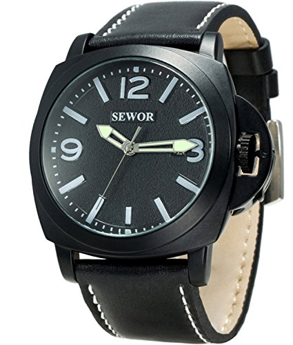 Sewor Mens Business Leather Automatic Mechanical Watch Black Case Calendar Switch Crown Wristwatch Luminous Pointer (Black)