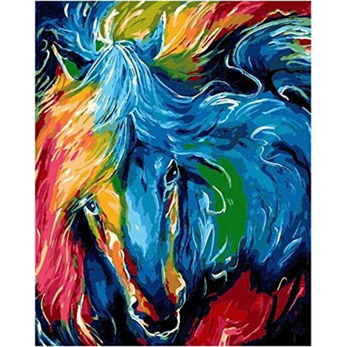 DAMENGXIANG DIY Handgemalte Zahlen Ölgemälde Bunte Tier Pferdekopf Moderne Abstrakte Kunst Bilder Für Wohnzimmer Wohnkultur 40 × 50 cm Mit Rahmen
