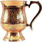 Indian Art Villa Handmade Mughlai Elegant Designed Brass Glass Mug Cup with Handle