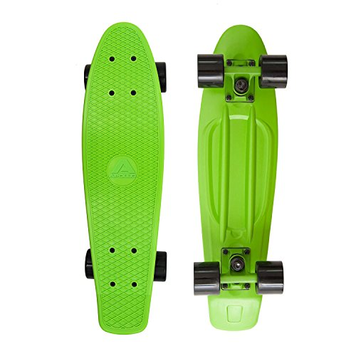 Apollo Fancy Skateboard, Vintage Mini Cruiser, Komplettboard, 22.5inch (57,15 cm), Mini-Board mit Holz Oder Kunstsoff Deck mit und Ohne LED Wheels, Farbe: Grün/Schwarz - Farbe Deck