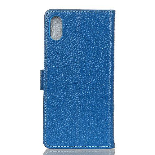 EKINHUI Case Cover Echtes Leder-Holster-Kasten Retro Litchi Beschaffenheits-Mappen-Standplatz-Fall-Abdeckung mit Karten-Schlitzen u. Kickstand für iPhone X ( Color : White ) Blue