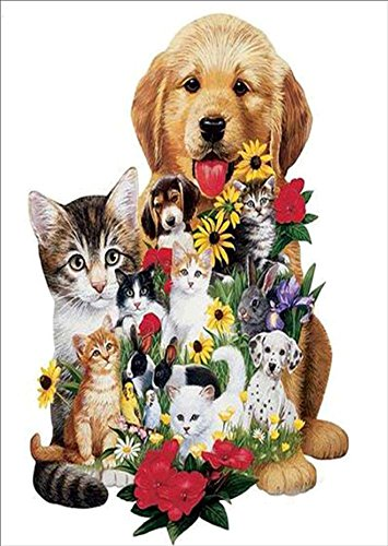 ing, Crystal Rhinestone Diamond Embroidery Paintings Pictures Arts Craft for Home Wall Decor Cats and Dogs and Flowers 11.8 X 15.7 Inch ()