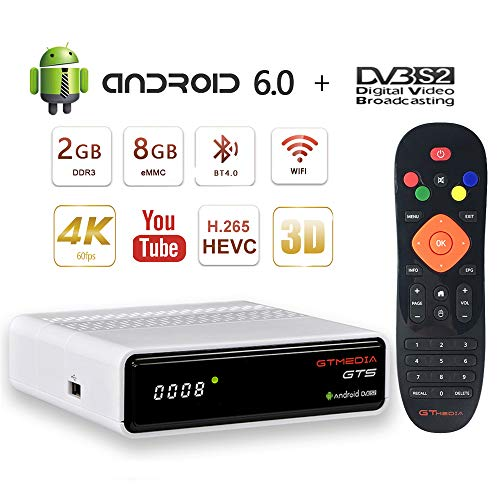 GT MEDIA GTS Android 6.0 TV Box Digital Satelliten Sat Receiver DVB-S/S2 Quad-Core 4K / 3D / H.265 HEVC / MPEG-4 / 2GB RAM + 8GB ROM / WiFi 2.4G / Ethernet / BT 4.0 Unterstützt CCcam YouTube Digital-tv-box
