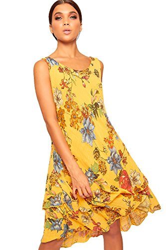 WearAll Women's Sleeveless Lined Midi Dress Ladies Floral Print Linen Dipped Hem Hi Lo 10-16