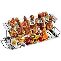 Gefu GE89259- Soporte para muslos de pollo, barbacoa de acero inoxidable, 43,5x 15,8x 15,5cm