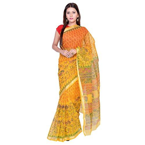 Panvi Kota Doria Cotton Silk Saree (P-104_Hand Block Printed Yellow_Free Size)