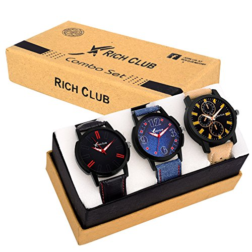 Rich Club 3 High Quality Multi~Colour Analogue Watches For Men And Boys