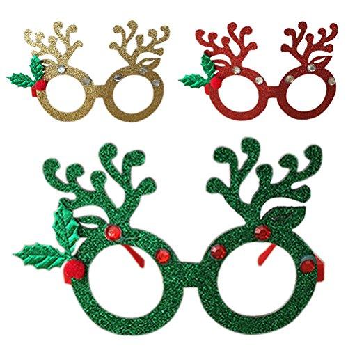 Weihnachten Gastgeschenke Photo Booth Requisiten rosenice Weihnachten Brille Rot Gold Grün, 3Stück