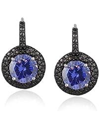 Boucles d'oreilles dormeuses en argent sterling avec tanzanite, ccent noir de diamant et zircon 4.5 carat
