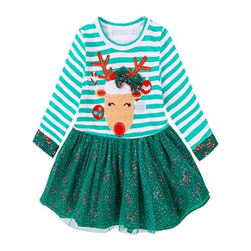 OverDose Kleinkind Kinder Baby Mädchen Deer Striped Langarm Prinzessin Kleid Weihnachten Outfits Kleidung(2T (Pyjamas Kostüm Gestreifte)