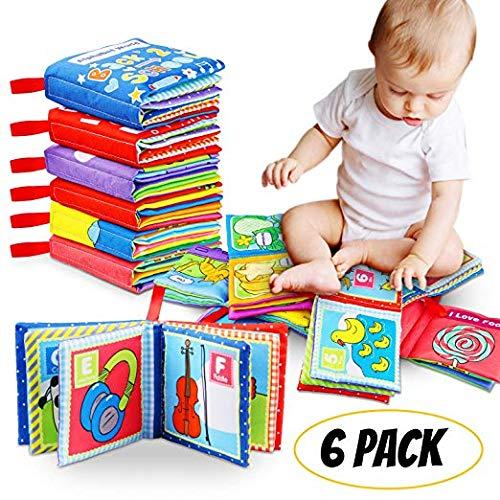 STOFFBUCH Geschenk für Baby, Babybuch, Fühlbuch für Babys, 1 Jahr alt, Kleinkind, Pädagogisches Babyspielzeug Jungen Mädchen, Kinderwagen Spielzeug, Geschenkbox für Babyparty, waschbarer Stoff