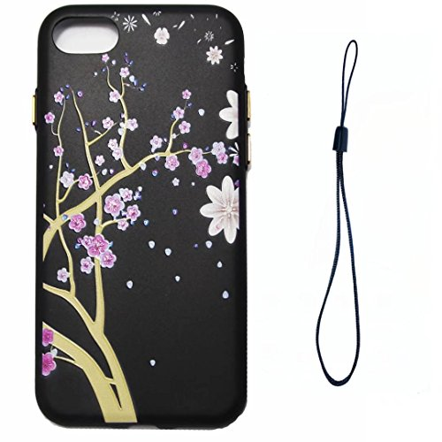 iPhone 7 Case,August 3D Emboss Pattern Flower TPU Soft Case Rubber Silicone Skin Cover for iPhone 7 A1