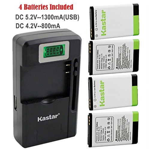 Kastar BL-5C Battery (4-Pack) and intelligent mini travel Charger ( with high speed portable USB charge function) for NOKIA 1100 2112 2270 2280 2285 2300 2600 2850 3100 3105 3120 3600 3620 3650 3660 5140 6108 6280 5030 5130 6030 6085 6086 6230 6230i 6267 6270 6555 6600 6630 6670 6680 6681 6820 6822 7600 7610 E50 E60 N70 N70 MusicEdition N71 N72 N91 N91 8GB N-Gage XpressMusic Degen and Meloson Port  available at amazon for Rs.6749