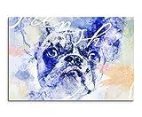 Bild Leinwand 120x80cm Französische Bulldogge in Blautönen mit Kalligraphie