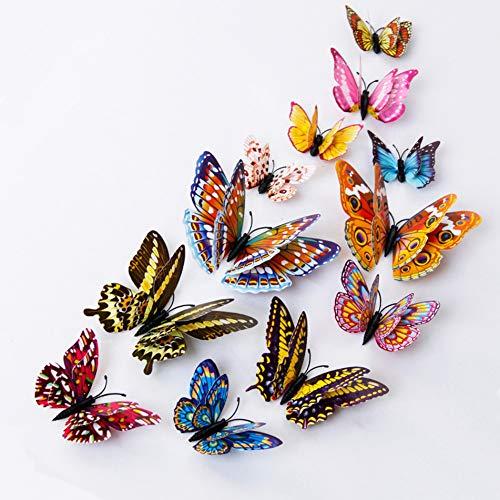 HKLCXMZ 12 Teile/Satz Multicolor Leuchtende 3D Schmetterling Wandaufkleber Magnet PVC Fluoreszenz Schmetterlinge Party Kinder Bett Zimmer