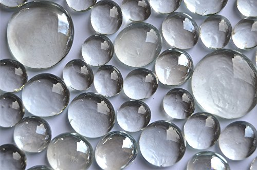 400g Glasnuggets glasklar-weiß 4 versch. Größen 13-33 mm, ca. 116 St