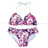 Bikini Set,Hevoiok Damen Bademode Zweiteilig Sexy Elegant Badeanzug Push-up Gepolstert BH Wellenrand Streamer Ball Bikinis Blumendruck For Mädchen Frauen Bandeau (Rosa, S)