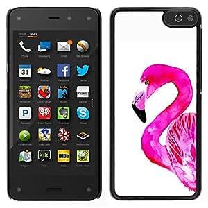 Good Phone Accessory // Hartschalen Handyhülle Schutzhülle Schutz Etui Hülle Hard Plastic Protective Case for Amazon Fire Phone // Rosa White Bird Florida Aquarell