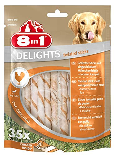 8in1 Delights Chicken Twisted Sticks, gesunder Kausnack für Hunde, 35 Stück (190g)