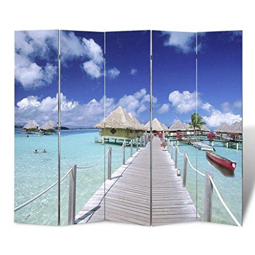 Anself Biombo con Diseño de Playa
