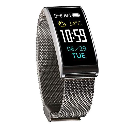 QYXANG Fitness Tracker Uhr IP68 Wasserdicht, GPS Tracker Smart Armband Uhr Herzfrequenz Blutdruck Aktivität Edelstahl Handgelenk Band Tracker