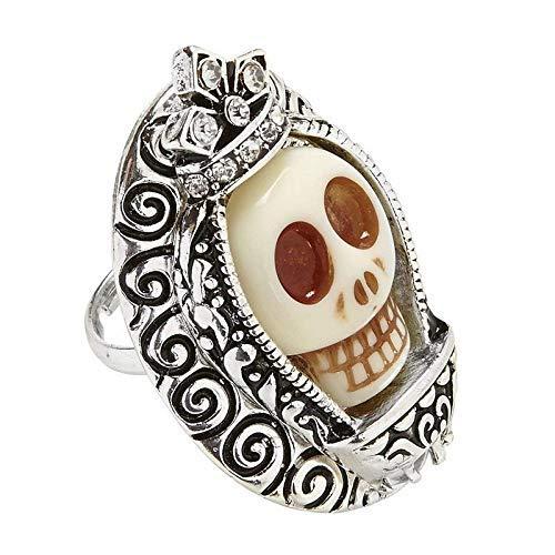 (Lively Moments großer Ring Dia de los Muertos / weißer Totenkopf / Tag der Toten Halloween Kostüm Zubehör)