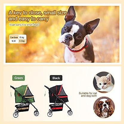 Pet Travel Stroller Three Wheels Cat Dog Pushchair Trolley,Puppy Carrier,Shockproof,Single Front Wheel 360° Rotation… 7