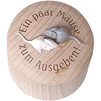 Preisvergleich für Weiss Natur Pur Moneybox Mäuse, Spardose aus Holz (rund)