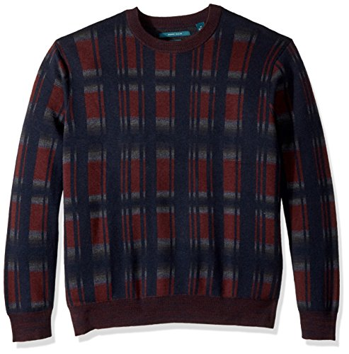 Perry Ellis Herren Big and Tall Exploded Plaid Crew Sweater Pullover, Royal Black Cherry, 3X -