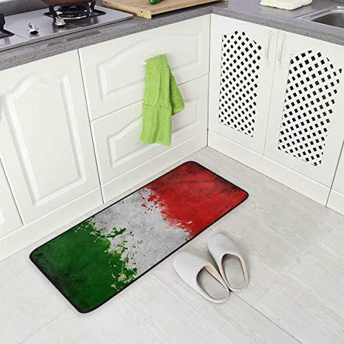 SENNSEE Fußmatte mit Abstrakter Italienischer Flagge, für Küche, Fußmatte innen außen, vorne, rutschfest, für Zuhause, 99,1 x 50,8 cm
