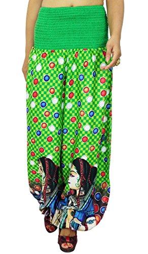 Yoga Baggy Polka Dot imprimés élastiques Pantalon sarouel Pyjamas Vert