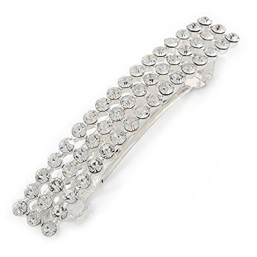 Klassische klare Kristall Quadrat Haarspange Hair Clip Grip in rhodiniert Metall–80mm über