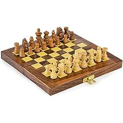 Rusticity Juego de ajedrez de madera con tabla plegable y piezas de ajedrez, hecho a mano (8 x 8 pulgadas)