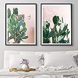 wymhzp 2 pièce Cactus Affiches et Impressions Nordique Rose botanique Toile Peinture Mur Photos pour Salon Moderne décor à la Maison 60x80cm sans Cadre