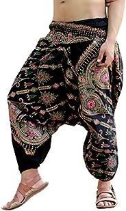 Sarjana Handicrafts Mens Womens Cotton Golden Printed Harem Pants Yoga Drop Crotch Trouser