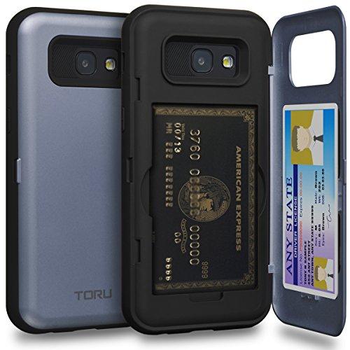 Reine Orchidee (TORU CX PRO Galaxy A5 2017 Hülle Kartenfach Blau mit Verstecktes Ausweis-Slot Kreditkartenhalter und Spiegel für Samsung Galaxy A5 (2017) - Orchidee Grau)