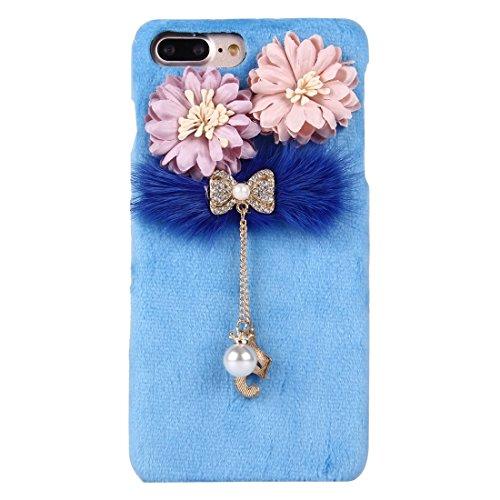 Hülle für iPhone 7 plus , Schutzhülle Für iPhone 7 Plus 3D Blume Plüsch Stoff Abdeckung PC Schutzhülle mit Diamant verkrustet Bowknot Kette Anhänger ,hülle für iPhone 7 plus , case for iphone 7 plus ( Blue