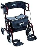 drive 9319 Diamond Deluxe Leichtgewicht Rollator und Transportstuhl in einem Farbe rot