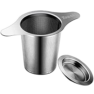 Yoassi Tea Infuser, 304 Stainless Steel Tea Filter Strainer With Lid and Double Handles Perfect for Hanging on Teapots, Mugs, Cups to steep Loose Leaf Tea and Coffee