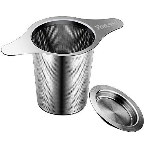 Yoassi Teesieb für Kanne aus Edelstahl mit Doppel-Griff und Abtropfschale/Deckel für Tasse/Teekanne/Töpfe